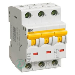 Автоматический выключатель ВА47-60 3P 16 А х-ка C, IEK MVA41-3-016-C