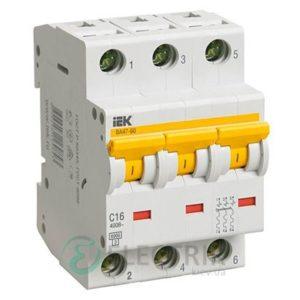 Автоматический выключатель ВА47-60 3P 32 А х-ка C, IEK MVA41-3-032-C