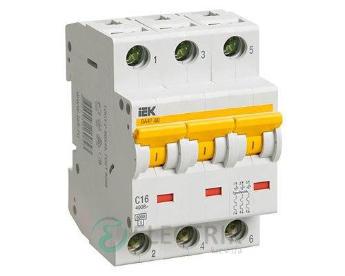 Автоматический выключатель ВА47-60 3P 6 А х-ка C, IEK MVA41-3-006-C