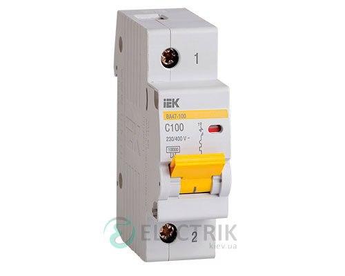 Автоматический выключатель ВА47-100 1P 80 А х-ка C, IEK MVA40-1-080-C