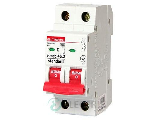 Автоматический выключатель e.mcb.stand.45.2.C6, 2P 6 А характеристика C, E.NEXT