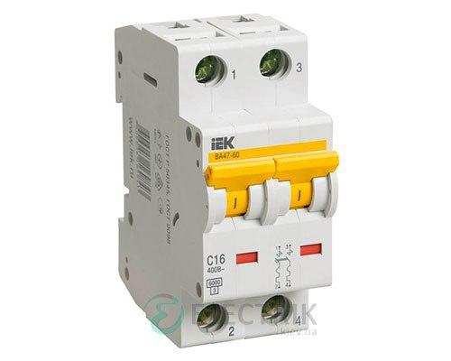 Автоматический выключатель ВА47-60 2P 16 А х-ка C, IEK MVA41-2-016-C