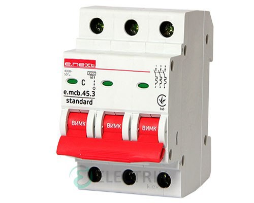 Автоматический выключатель e.mcb.stand.45.3.C10, 3P 10 А характеристика C, E.NEXT