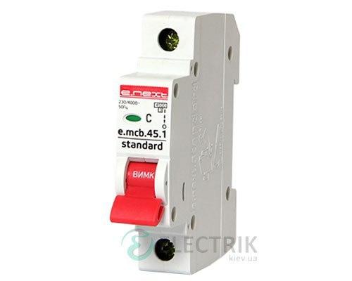 Автоматический выключатель e.mcb.stand.45.1.C25, 1P 25 А характеристика C, E.NEXT
