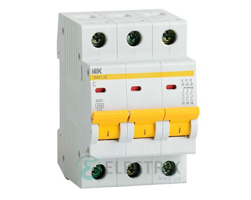 Автоматический выключатель ВА47-29 3P 6 А х-ка B, IEK MVA20-3-006-B