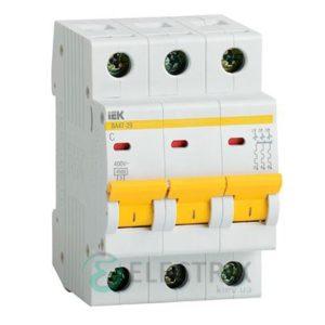 Автоматический выключатель ВА47-29 3P 16 А х-ка D, IEK MVA20-3-016-D