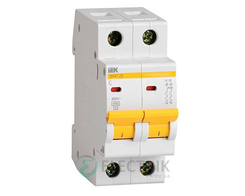 Автоматический выключатель ВА47-29 2P 63 А х-ка C, IEK MVA20-2-063-C