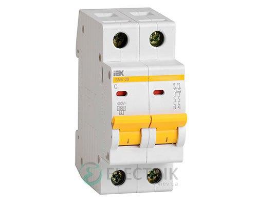 Автоматический выключатель ВА47-29 2P 63 А х-ка D, IEK MVA20-2-063-D