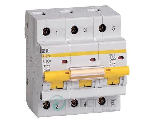 Автоматический выключатель ВА47-100 3P 100 А х-ка C, IEK MVA40-3-100-C