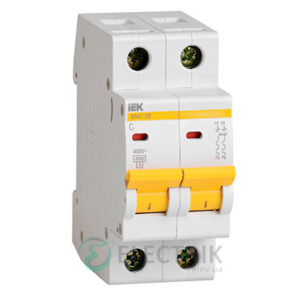 Автоматический выключатель ВА47-29 2P 1 А х-ка C, IEK MVA20-2-001-C