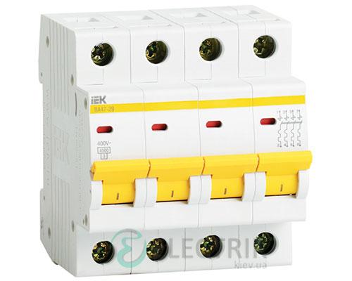 Автоматический выключатель ВА47-29 4P 1 А х-ка C, IEK MVA20-4-001-C
