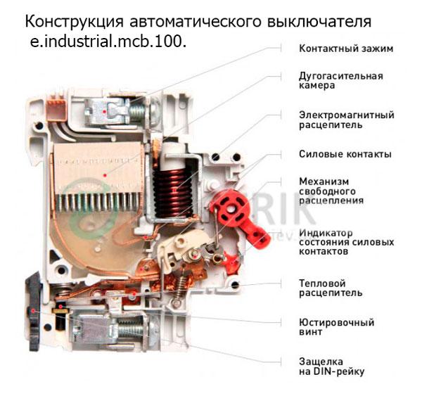 Конструкция Модульный автоматического выключателя e.industrial.mcb.100