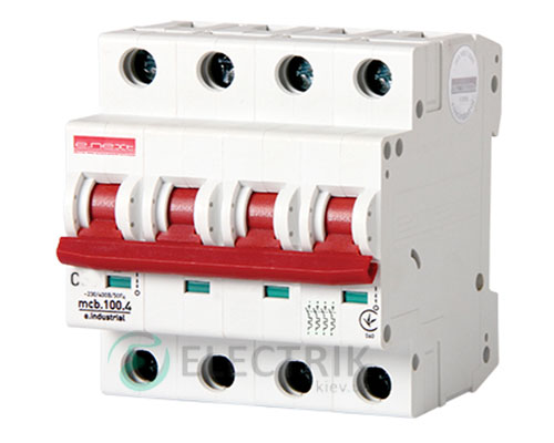 Автоматический выключатель e.industrial.mcb.100.3N.C50, 3P+N 50 А характеристика C