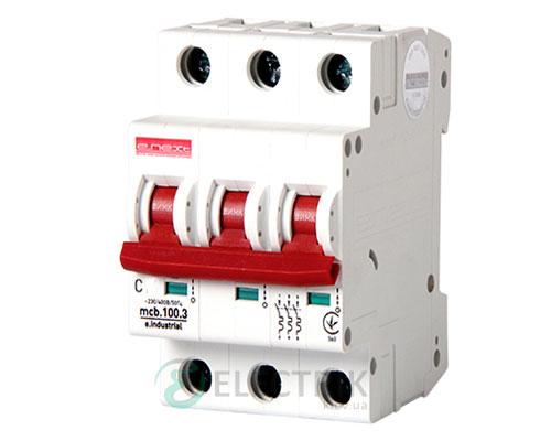 Автоматический выключатель e.industrial.mcb.100.3.C10, 3P 10 А характеристика C