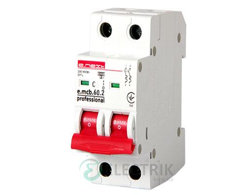 Автоматический выключатель e.mcb.pro.60.2.C 6 new, 2P 6 А характеристика C, E.NEXT
