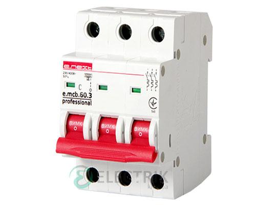 Автоматический выключатель e.mcb.pro.60.3.C 10 new, 3P 10 А характеристика C, E.NEXT