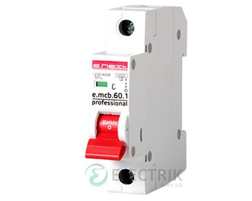Автоматический выключатель e.mcb.pro.60.1.C 10 new, 1P 10 А характеристика C, E.NEXT