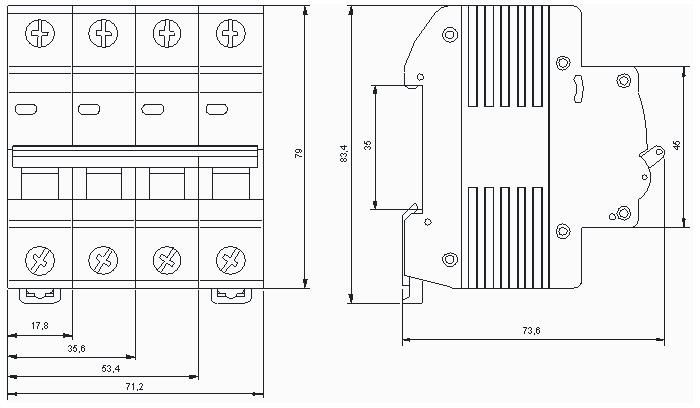 Габаритные размеры автоматического выключателя ВА47-29