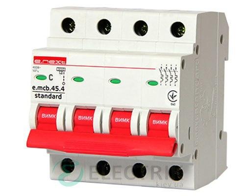Автоматический выключатель e.mcb.stand.45.4.C25, 4P 25 А характеристика C, E.NEXT