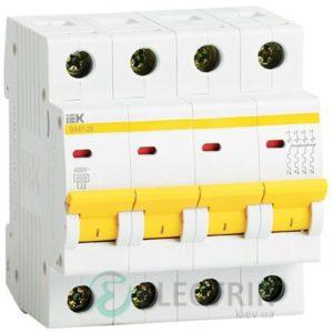 Автоматический выключатель ВА47-29 4P 20 А х-ка C, IEK MVA20-4-020-C
