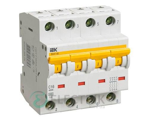 Автоматический выключатель ВА47-60 4P 16 А х-ка C, IEK MVA41-4-016-C