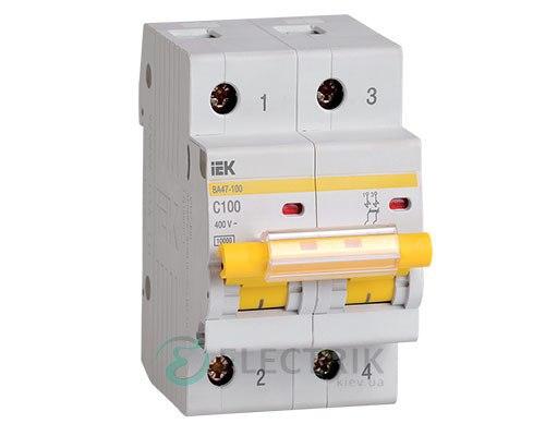 Автоматический выключатель ВА47-100 2P 100 А х-ка C, IEK MVA40-2-100-C