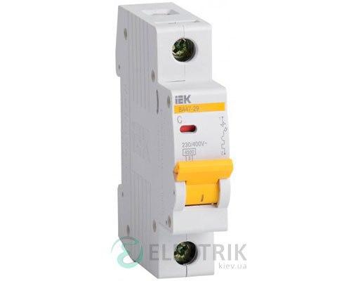 Автоматический выключатель ВА47-29 1P 6 А х-ка C, IEK MVA20-1-006-C
