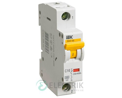 Автоматический выключатель ВА47-60 1P 16 А х-ка D, IEK MVA41-1-016-D