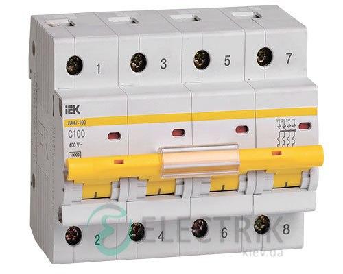 Автоматический выключатель ВА47-100 4P 100 А х-ка C, IEK MVA40-4-100-C