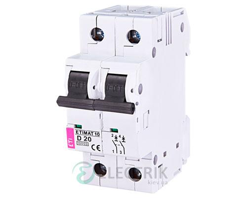 Автоматический-выключатель-ETIMAT-10-(10кА)-2P-20-А-хар-ка-D,-ETI-(Словения) 2153717