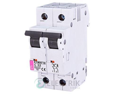 Автоматический-выключатель-ETIMAT-10-(10кА)-2P-32-А-хар-ка-C,-ETI-(Словения) 2133719