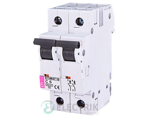 Автоматический-выключатель-ETIMAT-10-(10кА)-2P-6-А-хар-ка-C,-ETI-(Словения) 2133712
