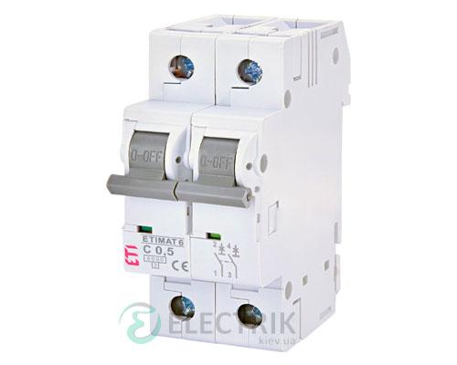 Автоматический-выключатель-ETIMAT-6-(6кА)-2P-0,5-А-хар-ка-C,-ETI-(Словения) 2143501