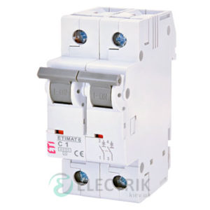 Автоматический-выключатель-ETIMAT-6-(6кА)-2P-1-А-хар-ка-C,-ETI-(Словения) 2143504