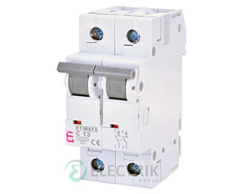 Автоматический-выключатель-ETIMAT-6-(6кА)-2P-13-А-хар-ка-C,-ETI-(Словения) 2143515