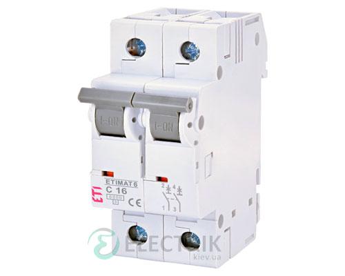 Автоматический-выключатель-ETIMAT-6-(6кА)-2P-16-А-хар-ка-C,-ETI-(Словения) 2143516
