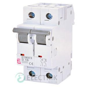 Автоматический-выключатель-ETIMAT-6-(6кА)-2P-16-А-хар-ка-D,-ETI-(Словения) 2163516