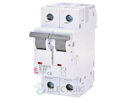 Автоматический-выключатель-ETIMAT-6-(6кА)-2P-20-А-хар-ка-B,-ETI-(Словения) 2113517