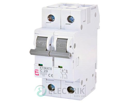 Автоматический-выключатель-ETIMAT-6-(6кА)-2P-20-А-хар-ка-C,-ETI-(Словения) 2143517