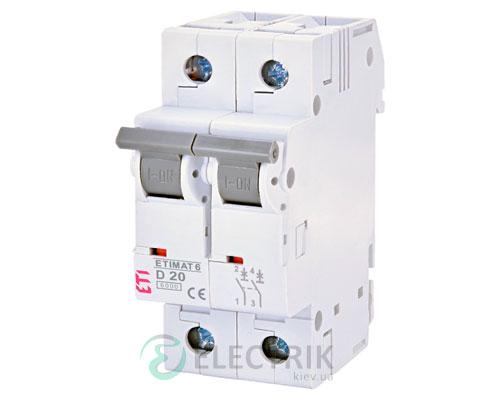 Автоматический-выключатель-ETIMAT-6-(6кА)-2P-20-А-хар-ка-D,-ETI-(Словения) 2163517