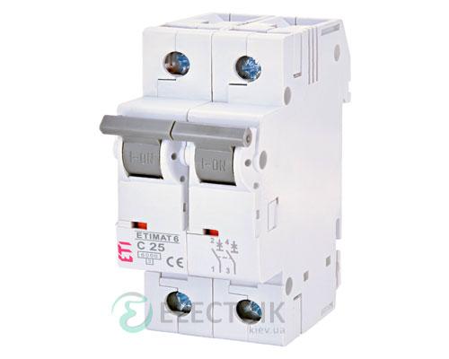 Автоматический-выключатель-ETIMAT-6-(6кА)-2P-25-А-хар-ка-C,-ETI-(Словения) 2143518