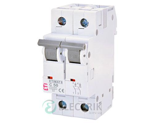 Автоматический-выключатель-ETIMAT-6-(6кА)-2P-50-А-хар-ка-C,-ETI-(Словения) 2143521