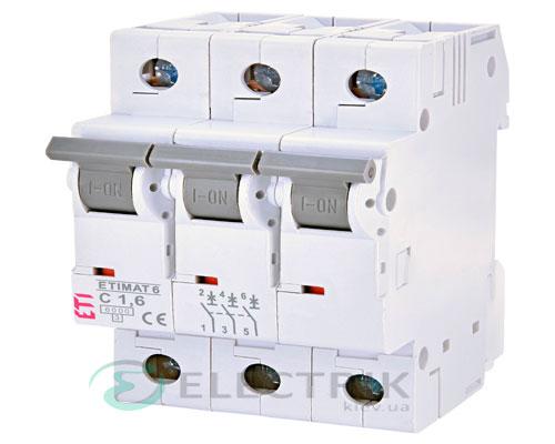 Автоматический-выключатель-ETIMAT-6-(6кА)-3P-1,6-А-хар-ка-C,-ETI-(Словения) 2145507