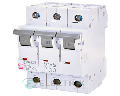 Автоматический-выключатель-ETIMAT-6-(6кА)-3P-2-А-хар-ка-C,-ETI-(Словения) 2145508