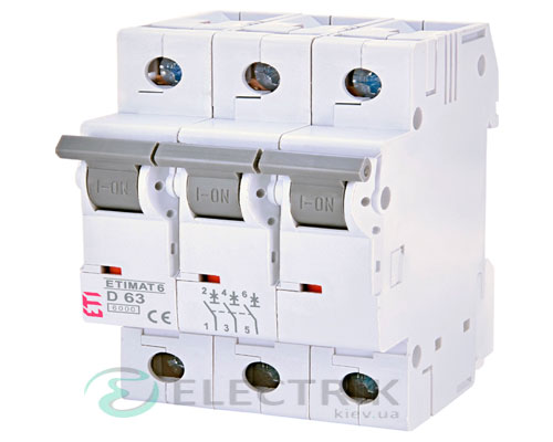 Автоматический-выключатель-ETIMAT-6-(6кА)-3P-63-А-хар-ка-D,-ETI-(Словения) 2164522