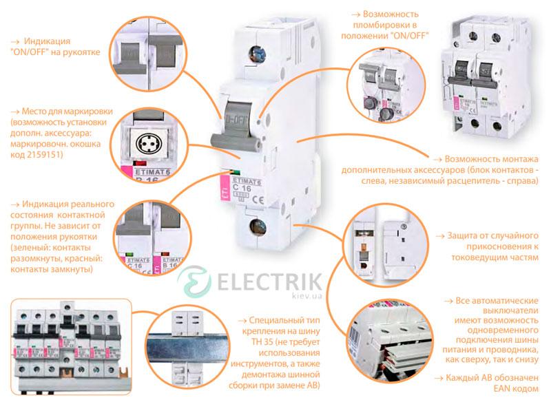 Автоматический-выключатель-ETIMAT-6-(6кА)-особенности и выполнение
