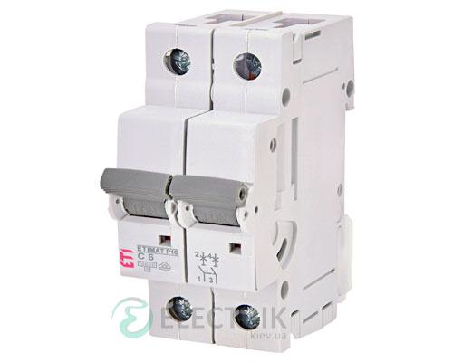 Автоматический-выключатель-ETIMAT-P10-(10кА)-2P-6-А-хар-ка-C,-ETI-(Словения) 270621101