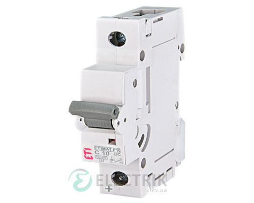 Автоматический выключатель ETIMAT P10 DC (10кА) 1P 10 А хар-ка C, ETI (Словения)