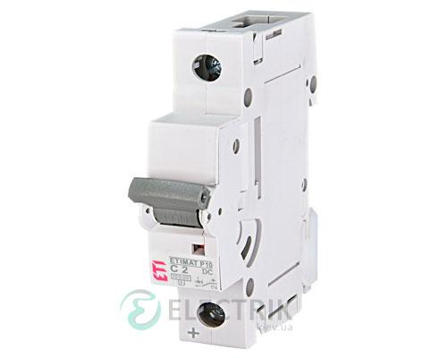 Автоматический выключатель ETIMAT P10 DC (10кА) 1P 2 А хар-ка C, ETI (Словения)