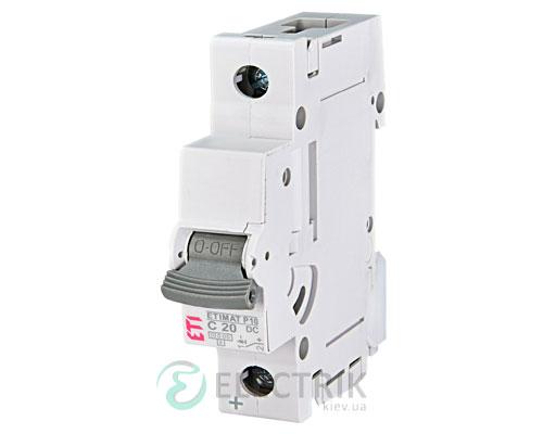 Автоматический выключатель ETIMAT P10 DC (10кА) 1P 20 А хар-ка C, ETI (Словения)